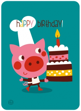 Postcard - birthday - pig - 1